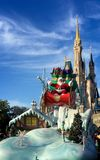 Santa Claus at Walt Disney World Christmas parade. Santa Claus in front of Cinderella Castle at Christmas holiday parade,Walt Disney World Magic Kingdom,Orlando Royalty Free Stock Image