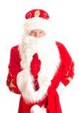 Santa Claus is warning someone. Royalty Free Stock Images
