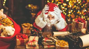 Santa Claus was tired under stress. With a headache stock photography