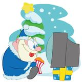 santa claus watching tv with pop corn stock illustration
