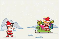 Santa Claus waved her hand, Santina is sit on a sled to  send gift on Christmas Day and empty top space for text. Stock Photo