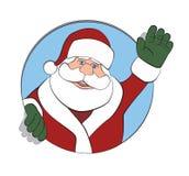 Santa Claus Waving Through a Circle Royalty Free Stock Photos