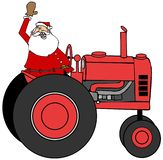 Santa Claus waving while driving a tractor stock illustration