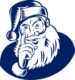 Santa Claus waving a finger. Vector illustration of Father Christmas  done in woodcut retro style Stock Photos