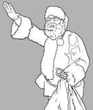 Santa Claus Waving och innehav en säck Arkivbild