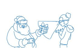 Santa claus wear digital glasses give woman virtual reality present merry christmas happy new year concept sketch doodle royalty free illustration