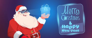 Santa Claus Wear Digital Glasses Holding Virtual Present Box Merry Christmas And Happy New Year Greeting Card. Flat Vector Illustration Royalty Free Stock Photos