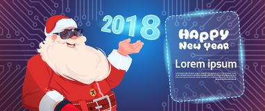 Santa Claus Wear Digital Glasses Virtual Reality Concept Merry Christmas And Happy New Year Greeting Card. Flat Vector Illustration Stock Photos