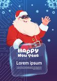 Santa Claus Wear Digital Glasses Virtual Reality Concept Merry Christmas And Happy New Year Greeting Card. Flat Vector Illustration Royalty Free Stock Image