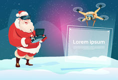 Santa Claus Wear Virtual Reality Digital Glasses Headset Drone Flying With Banner Signboard Copy Space. Flat Vector Illustration royalty free illustration