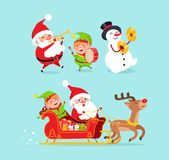 Santa Claus Snowman with Elf Vector Illustration. Santa Claus wearing traditional costume and snowman with black hat, elf with drum, sled and reindeer with vector illustration