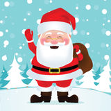 Santa Claus. Wears a red dress bearing gift bags and waving for Christmas. Vector illustration Stock Photography