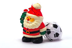 Santa Claus whit football Royalty Free Stock Image