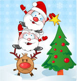Santa claus whit reindeer cartoon Royalty Free Stock Image