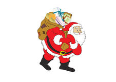 Santa claus in white. Figure of Santa Claus with a bag of gifts Stock Images