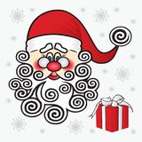 Santa Claus on a white background with a gift and snowflakes. Ch Royalty Free Stock Photography