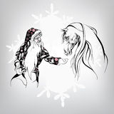 Santa Claus and a white horse. Vector illustration Royalty Free Stock Images