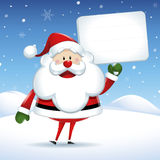 Santa Claus with white sign in Christmas Stock Images