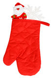 Santa Claus and white snowflake in red heat protective mitten Stock Photography