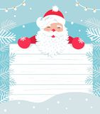 Santa Claus with White Wooden Board for Sign or Invitation to Christmas Event. Winter Snowy Backgound. Vector Royalty Free Stock Photography