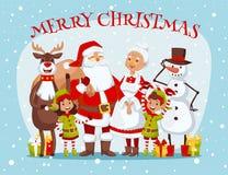 Santa Claus wife and kids cartoon family vector. Santa Claus, Missis Claus, kids family vector illustration royalty free illustration