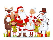 Santa Claus wife and kids cartoot family vector Royalty Free Stock Photo
