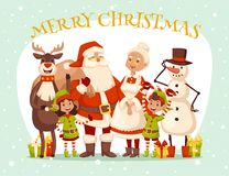 Santa Claus wife and kids cartoot family vector. Santa Claus, Missis Claus, kids family vector illustration. Santa Clau, Missis Claus cartoot people. Missis Royalty Free Stock Photography