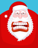 Santa Claus wild grin. Aggressive old man. Open your mouth and t. Eeth. Scary grandfather yelling. Xmas design template. Character for Christmas and New Year vector illustration