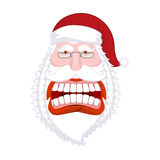 Santa Claus wild grin. Aggressive old man. Open your mouth and t. Eeth. Scary grandfather yelling. Xmas design template. Character for Christmas and New Year stock illustration
