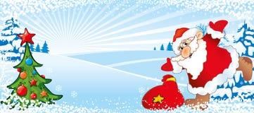 Santa Claus winter background stock illustration