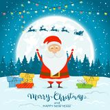 Santa Claus on Winter Background with Gifts and Deer. Happy Santa Claus with colorful Christmas lights and gifts on snow. Deer and text Merry Christmas and Happy royalty free illustration