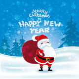 Santa Claus on winter background. Stock Photo