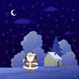 Santa Claus in a winter forest Royalty Free Stock Photo