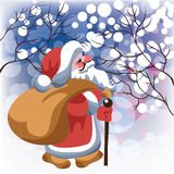 Santa Claus in winter forest. Santa Claus with bag in winter forest royalty free illustration