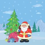 Santa Claus in winter forest Stock Photography
