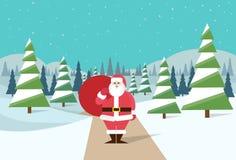 Santa Claus winter forest landscape santa Stock Photos