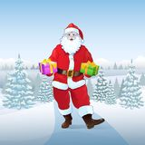 Santa Claus winter forest woods hold present, Royalty Free Stock Photography