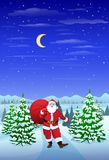 Santa Claus in winter forest woods hold sack Royalty Free Stock Photography