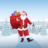 Santa Claus in winter forest woods present Royalty Free Stock Photos