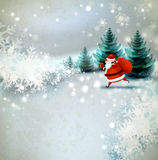 Santa Claus. On the Winter landscape Stock Images