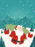 Santa claus on winter landscape with copyspace Royalty Free Stock Image