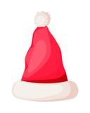 Santa Claus Winter Woolen Hat Isolated su bianco Fotografia Stock Libera da Diritti