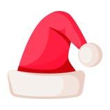 Santa Claus Winter Woolen Hat su bianco Fotografia Stock