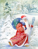 Santa Claus wishes a happy new year and Christmas. Russian Santa Claus in a snowy forest painted in watercolor Royalty Free Stock Photos