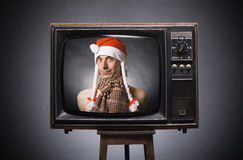 Santa Claus wishes of retro TV. Stock Image