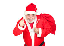 Santa Claus With A Full Sack Saying OK Stock Photography