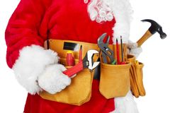 Santa Claus With A Tool Belt. Royalty Free Stock Photography