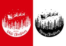 Free Santa Claus With His Reindeer And Sleight, Vector Christmas Card Stock Photo - 162000080
