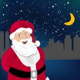Santa Claus With Night City Stock Photos