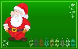 Santa Claus With No Money Christmas GREEN Card Stock Image